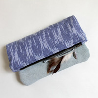 Ikat and suede fold over clutch, boho, tribal