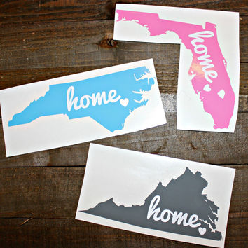 State Car Decal,State Home Decal, State Love Decal, North Carolina Decal, Florida Decal, Virginia Decal, Vinyl Decal, Home State