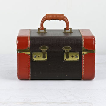 Vintage Train Case Suitcase, suitcase, luggage