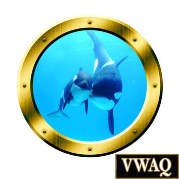 Underwater Wall Art 3D Porthole Orca Whale Family Wall Art Killer Whales Ocean View 3D Window Gold Portal Art VWAQ-GP4