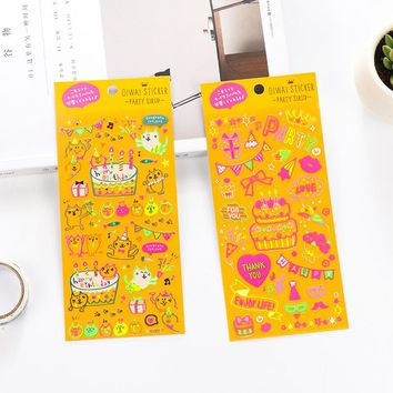 Happy Birthday Cats Cute Stationery Diary album decoration Pvc Kawaii Stickers Planner Stickers Sticky Notes Post It Papelaria