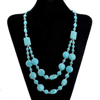 Hot Turquoise Beads Choker Vintage Necklaces Pendants Statement Necklaces & Pendants Long Necklace Women Jewelry Collares 2016