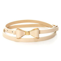 Good to Bow Cream Bow Skinny Belt