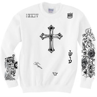 Justin Bieber UPDATED version ! Tattoo print on  white Pullover hoodie or Crew neck sweater jumper with sleeve print.