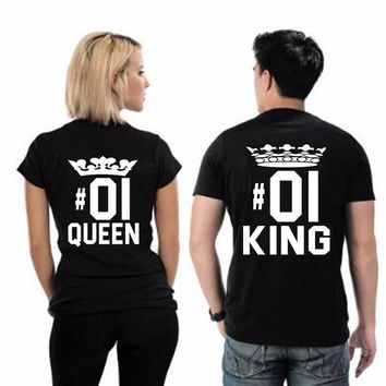 Trendy 2018 Summer Fashion KING QUEEN 01 Letters Print T Shirt Men Women TShirts Casual Funny Couples T Shirt Matching Couple Clothing AT_94_13