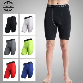 Yel Hot Logo Custom Gym Leggings Men Compression Crossfit Shorts Football Trousers Jogging Pantalones Quickly Dry Running Shorts