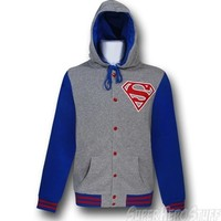 Superman Varsity Button-Up Hoodie