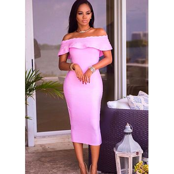Amadea Lilac Fluted Off Shoulder Dress