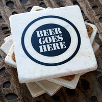 Funny Beer Stone Coasters - set of 4
