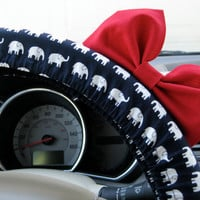 Limited Edition Navy and White Elephants Steering Wheel Cover with Matching Bright Red Bow