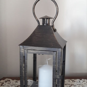 Vintage bronze lantern, Candle lanterns, Outdoor decor,  Lantern wall decor, Rustic lantern, Wedding lanterns