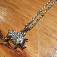 Silver Rhinestone Pig Necklace | Candy's Cottage