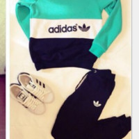 ADIDAS Color printing letters - hoodies women  TOP AND TWO PIECE SUIT