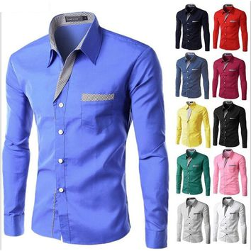 Fashion Mens Casual Slim Fit Long Sleeve Casual Dress Shirts Autumn WInter Outwear Plus Size S-XXXXL  ~A1