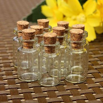 10pcs/set Storage Bottle Mason Jar Small Glass Bottle Vials Glass Jars Cheap Cork Stopper Make Wish Small Glass Bottle ZH210