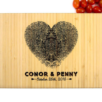 Personalized Engraved Cutting Board, Fingerprint Heart Design, Names and Date, Wedding, Home, Engagement, Bride and Groom, Christmas Gift