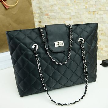 New Design Fashion Quilted Chain Women Bag Leather Handbags Fashion Lattice Shoulder Bags Casual Tote Bag Free shipping