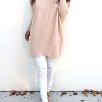 Pink Plain V-neck Long Sleeve Casual Pullover Sweater