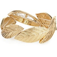 River Island Womens Gold tone leaf stretch bracelet