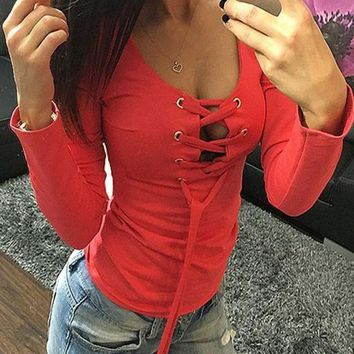 DCCK7XP Red Drawstring Lace Up Cut Out Round Neck Long Sleeve T-Shirt