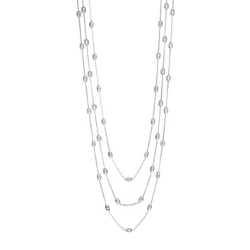 Silver Rhodium Finish Diamond Cut 4-5.8mm Oval Bead On 1.2mm 3 Graduated Strand Cable Chain Necklace with Lobster Clasp
