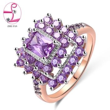 ZHE FAN Luxury AAA Cubic Zirconia Geometric Rectangle Halo Engagement Wedding Ring Rhodium Rose Gold Color 2 Tone Plated Jewelry