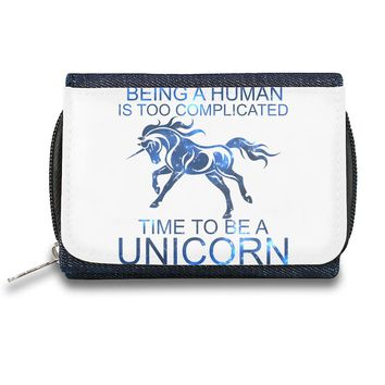 Beeing A Human Is Too Complicated Time To Be A Unicorn Slogan   Zipper Wallet| The Stylish Pouch To Keep Everything Organized| Ideal For Everyday Use & Traveling| Authentic Accessories By Styleart