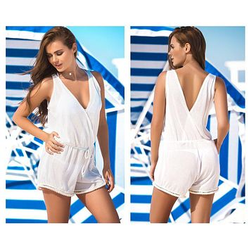 Mapale 7866 Cover Up and Beach Romper Color Ivory