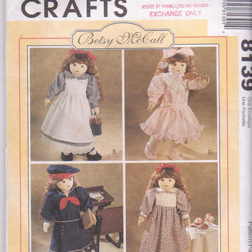 "Pattern for Betsy McCall/18"" vintage Victorian Era doll clothes including party dress and sailor dress McCall's 8139 CUT and COMPLETE"
