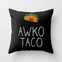 Awko Taco Throw Pillow by RexLambo