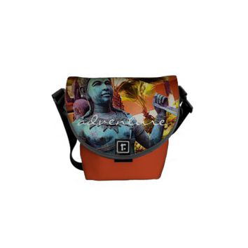 """Adventure"" turquoise warrior photo messenger bag"