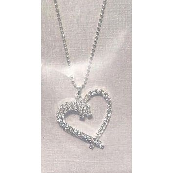 Crystal Heart Open Pendant Necklace