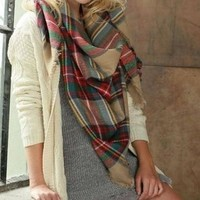 Lucky Duck Pretty in Plaid Blanket Scarf - Sand