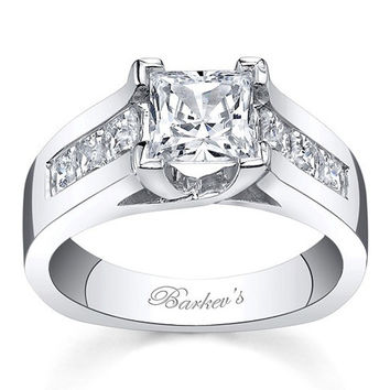 Barkev's 14K White Gold Princess Cut Channel Set Wide Diamond Engagement Ring