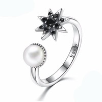 Pearl Moon and Black Star Ring