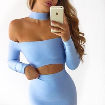 Good Life Light Blue Long Sleeve Mock Neck Off The Shoulder Cut Out Waist Bodycon Bandage Mini Dress