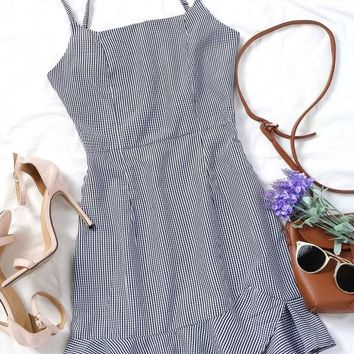 Brandy Gingham Ruffle Hem Dress