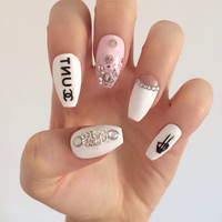 Channel cc cunt white pink and black spiked edgy classy skull false nails