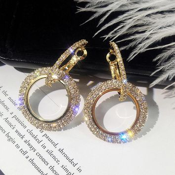IPARAM Fashion Korean Style Big Round Drop Earrings Luxury Gold Silver Color Rhinestone Earring Women Party Jewelry Gift