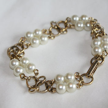 Vintage Pearl Bracelet Wedding Bridal 1980s Jewelry