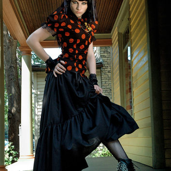 Steampunk Skirt with Bustle Pulls in Black Cotton- Custom to order
