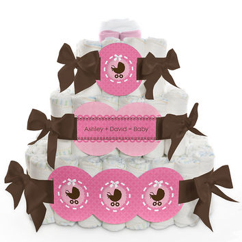 Girl Baby Carriage - Personalized Baby Shower Square Diaper Cakes - 3 Tier