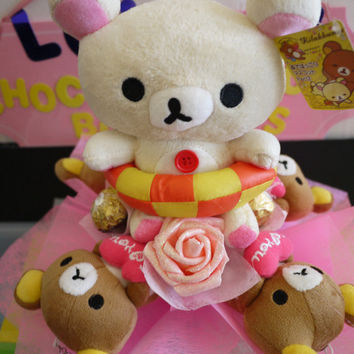 Rilakkuma Lazy Bear in bathing suit flower bouquet with Ferrero Rocher Chocolate. *** Great Birthday gift!