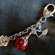 Rose Fried Marble Heart Fly Away Love Red Keychain