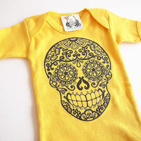 Traditional Sugar Skull Baby clothes. Tattoo Flash Kid Romper. Day of the Dead yellow Jumper 3, 6 month Trendy Infant bodysuit shower gift