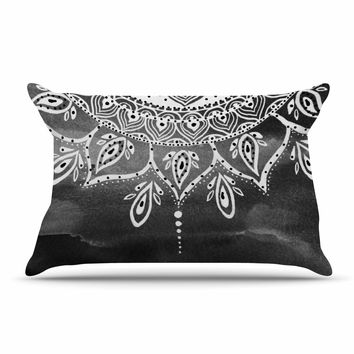 "Li Zamperini ""Black & White Mandala"" Gray Abstract Pillow Case"