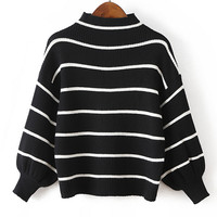 Fashion Striped Bell Sleeve Loose Sweater