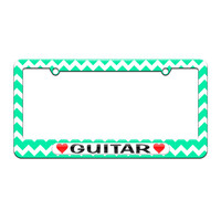 Guitar Love with Hearts - License Plate Tag Frame - Teal Chevrons Design