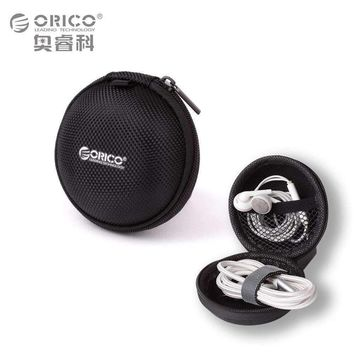 ORICO Headphone Case Bag Portable Earphone Earbuds U-disk Storage for Memory Card USB Cable Organizer Mini Earphone Bag-Black