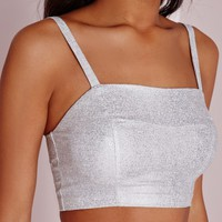 Missguided - Foil Crop Top Silver